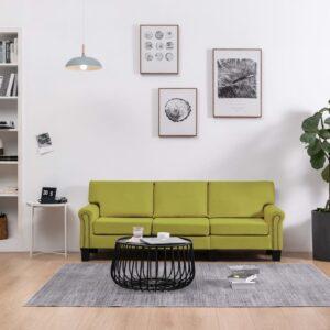 Sofá de 3 lugares em tecido verde - PORTES GRÁTIS