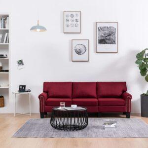 Sofá de 3 lugares em tecido vermelho tinto - PORTES GRÁTIS
