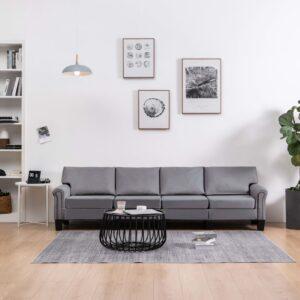Sofá de 4 lugares em tecido cinzento-claro - PORTES GRÁTIS