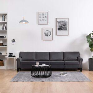 Sofá de 4 lugares tecido cinzento-escuro - PORTES GRÁTIS