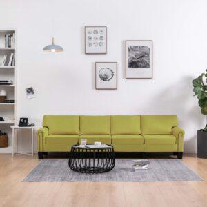 Sofá de 4 lugares em tecido verde - PORTES GRÁTIS