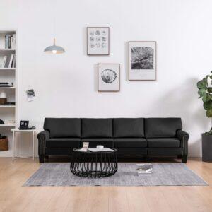 Sofá de 4 lugares em tecido preto - PORTES GRÁTIS