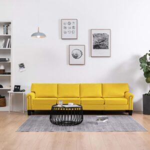 Sofá de 4 lugares em tecido amarelo - PORTES GRÁTIS
