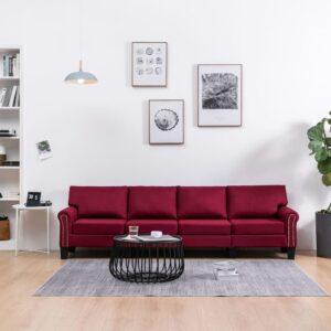 Sofá de 4 lugares em tecido vermelho tinto - PORTES GRÁTIS