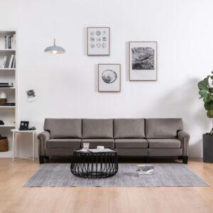 Sofá de 4 lugares em tecido cinzento-acastanhado - PORTES GRÁTIS