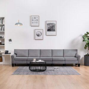 Sofá de 5 lugares em tecido cinzento-claro - PORTES GRÁTIS