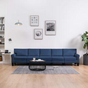 Sofá de 5 lugares em tecido azul - PORTES GRÁTIS