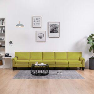 Sofá de 5 lugares em tecido verde - PORTES GRÁTIS