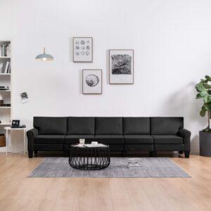 Sofá de 5 lugares em tecido preto - PORTES GRÁTIS
