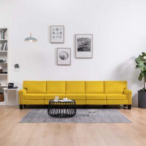 Sofá de 5 lugares em tecido amarelo - PORTES GRÁTIS