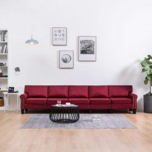 Sofá de 5 lugares em tecido vermelho tinto - PORTES GRÁTIS