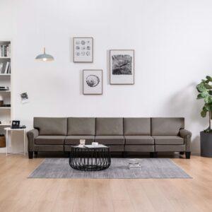 Sofá de 5 lugares em tecido cinzento-acastanhado - PORTES GRÁTIS