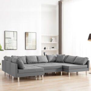 Sofá seccional tecido cinzento-claro - PORTES GRÁTIS
