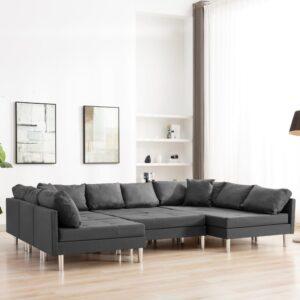 Sofá seccional tecido cinzento-escuro - PORTES GRÁTIS