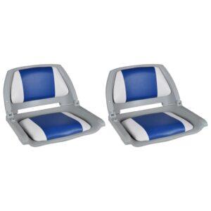 Assentos barco 2 pcs encosto dobrável azul/branco 41x51x48 cm - PORTES GRÁTIS