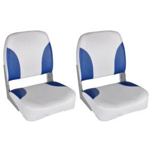 Assentos barco 2 pcs encosto dobrável azul/branco 41x36x48 cm - PORTES GRÁTIS