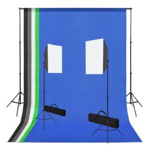 Kit estúdio de fotografia com 2 softbox de iluminação e fundos - PORTES GRÁTIS