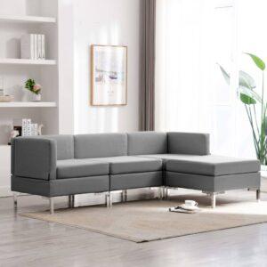 4 pcs conjunto de sofás tecido cinzento-claro - PORTES GRÁTIS
