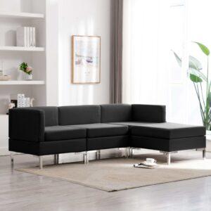 4 pcs conjunto de sofás tecido preto - PORTES GRÁTIS
