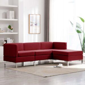 4 pcs conjunto de sofás tecido vermelho tinto - PORTES GRÁTIS
