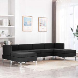 6 pcs conjunto de sofás tecido preto - PORTES GRÁTIS