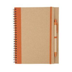 Caderno de Argolas com Caneta  Laranja