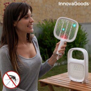 Lâmpada antimosquitos e raquete elétrica recarregável 2 em 1 - VEJA O VIDEO