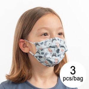 3 Máscaras Higiénicas em Tecido Reutilizável Cats Luanvi Infantil