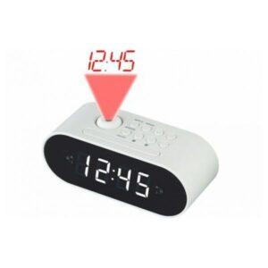Rádio-despertador com Projetor LCD Denver Electronics CRP-717 LED Branco Preto