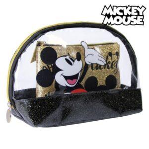 Nécessaire Mickey Mouse Dourado Preto (2 Pcs)