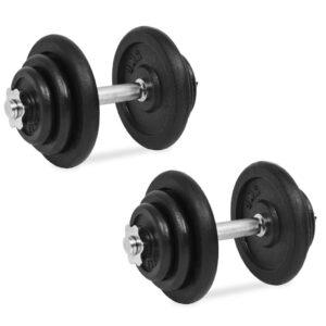 Conjunto de halteres 18 pcs 40 kg ferro fundido - PORTES GRÁTIS