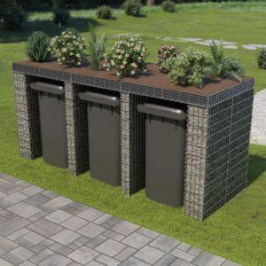 Muro gabião p/ caixote do lixo aço galvanizado 270x100x130 cm - PORTES GRÁTIS