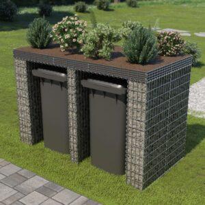 Muro gabião p/ caixote do lixo aço galvanizado 190x100x130 cm - PORTES GRÁTIS