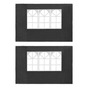 Parede lateral com janela p/ tenda de festas 2 pcs PE antracite - PORTES GRÁTIS