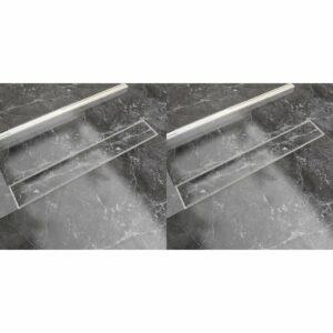 Dreno de chuveiro linear 2 pcs 730x140 mm aço inoxidável - PORTES GRÁTIS