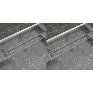 Dreno de chuveiro linear 2 pcs 830x140 mm aço inoxidável - PORTES GRÁTIS