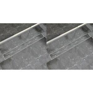 Dreno de chuveiro linear 2 pcs 930x140 mm aço inoxidável - PORTES GRÁTIS