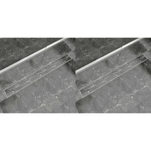 Dreno de chuveiro linear 2 pcs 1030x140 mm aço inoxidável - PORTES GRÁTIS