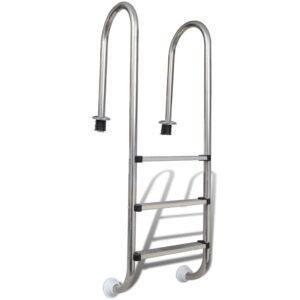 Escada para piscina 3 degraus aço inoxidável 120 cm  - PORTES GRÁTIS