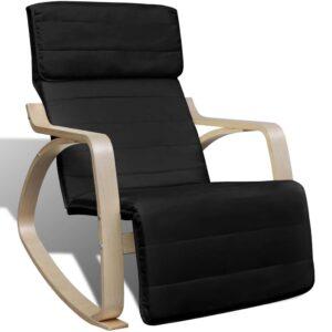Cadeira de baloiço madeira curvada e tecido preto - PORTES GRÁTIS