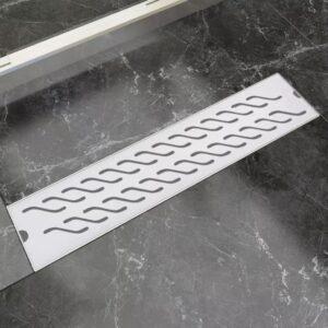 Dreno de chuveiro linear onda 530x140 mm aço inoxidável - PORTES GRÁTIS