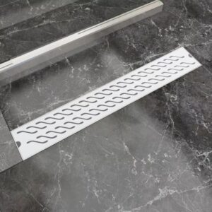 Dreno de chuveiro linear ondas 730x140 mm aço inoxidável - PORTES GRÁTIS