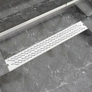 Dreno de chuveiro linear ondas 830x140 mm aço inoxidável - PORTES GRÁTIS