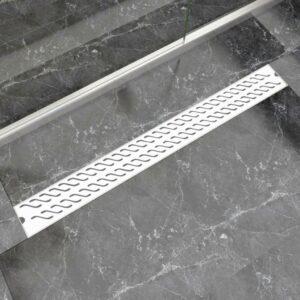 Dreno de chuveiro linear onda 1030x140 mm aço inoxidável - PORTES GRÁTIS