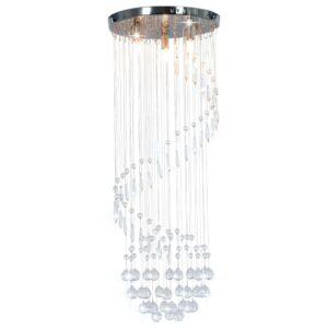 Candeeiro de teto com contas de cristal G9 espiral prateado - PORTES GRÁTIS
