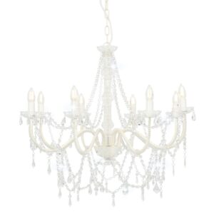 Lustre com contas lâmpadas 8 x E14 branco - PORTES GRÁTIS