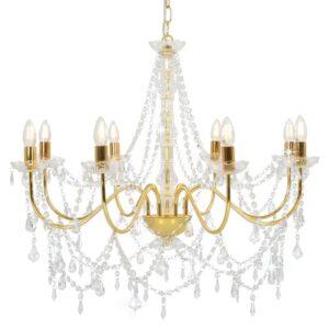 Lustre com contas lâmpadas 8 x E14 dourado - PORTES GRÁTIS