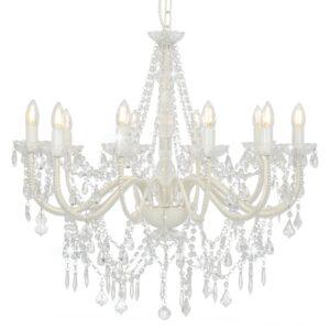 Lustre com contas lâmpadas 12 x E14 branco - PORTES GRÁTIS