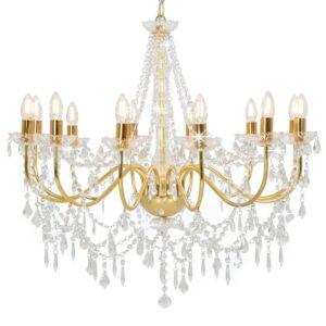Lustre com contas lâmpadas 12 x E14 dourado - PORTES GRÁTIS