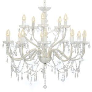 Lustre com 2 andares branco 15 x lâmpadas E14 - PORTES GRÁTIS